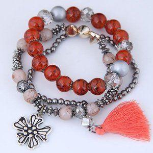 3/$20 New Red & Silver Tassel Beaded Bracelet Set